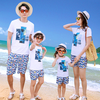 Print T shirt and Short Pants Set for Family Matching Outfit Summer Mom Daughter Sister Brother Holiday Suit Dad Son Beach Set