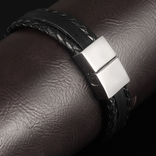 Casual Braided and Smooth Leather Style Bracelet