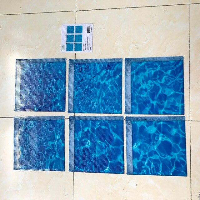 Funlife 3D Vasca Da Bagno Adesivi, Antiscivolo Impermeabile Auto-adesivo Vasca Decalcomanie, ondulazione Oceano Tappetini Da Bagno Bagno Per Il Capretto, 6 pz 15x15 cm