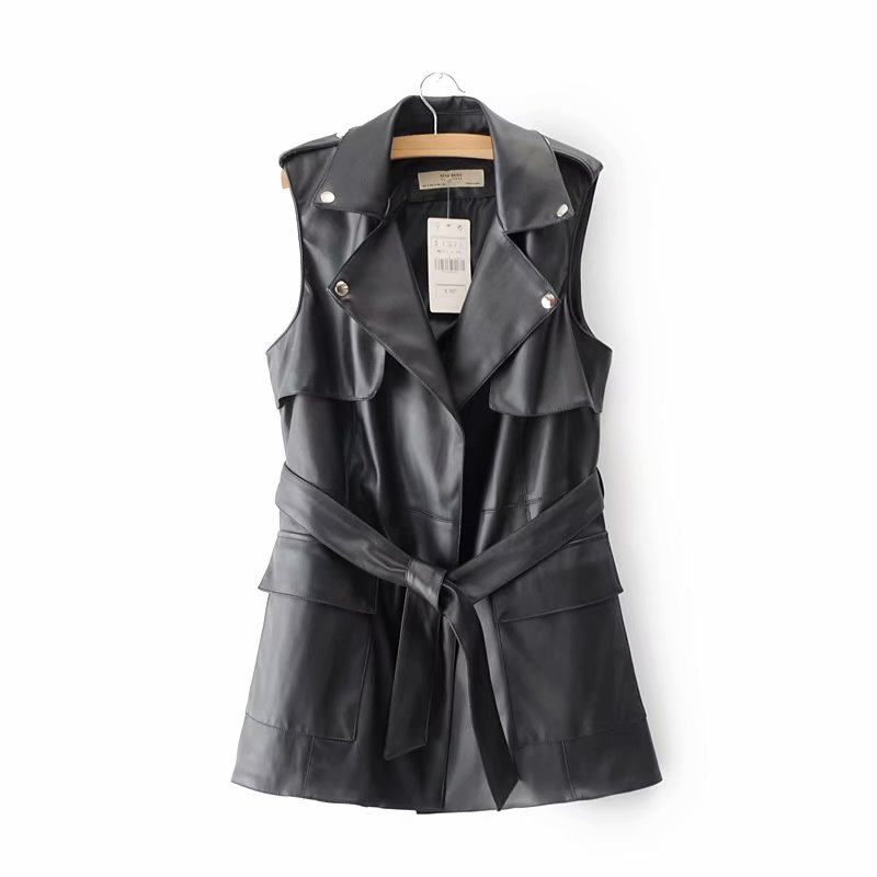 Black Women Long High Quality PU Coats Female Faux   Leather   Outwear Adjustable Waist for Ladies Slim Casual Sleeveless Clothes