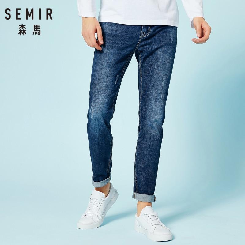 SEMIR Men Slim Fit Cotton Jeans Men Cotton Jeans Washed Denim Zip Fly Button For Spring Autumn