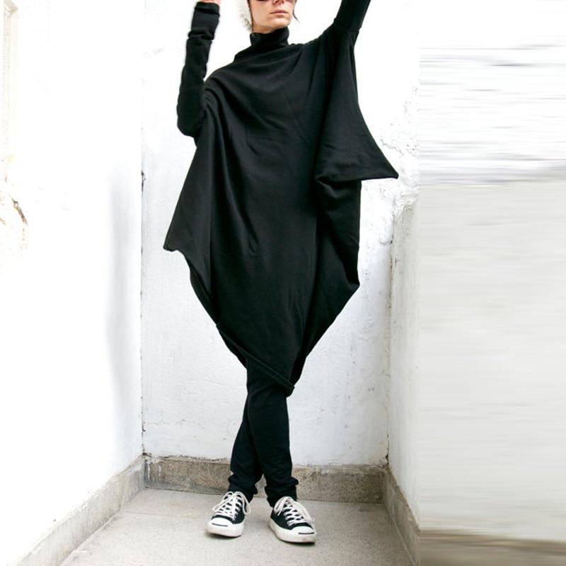 ZANZEA M-5XL Women Fashion Casual Oversized Batwing Sleeve Pockets Turtleneck Irregular Hem Baggy Pullover Dress Kaftan