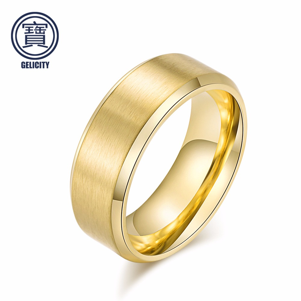 Jewelry & Accessories Independent Gelicity Contracted Titanium 8mm Matte Gentle&lady Ring Black&gold&silver Matte Dome Polished Beveled Edges Ring Cost-effective Grade Products According To Quality