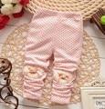 Algodão de coração flor leggings calças de alta qualidade encantador dos desenhos animados bonito bowknot menina