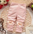 Algodón punto corazón leggings flower alta calidad hermoso encantador de la historieta del bebé del bowknot pantalones de la muchacha