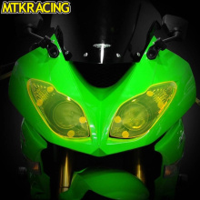 купить MTKRACING Motorcycle Headlight Protector Cover Screen Lens Lens Shield for KAWASAKI  ZX-6R 2009-2016 ZX 6R 2009 2011-2016 по цене 1757.89 рублей