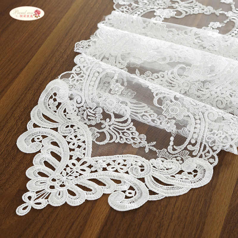 Proud Rose White Lace Table Flag Table Mat Rectangular Pointed TV Cabinet Cover Cloth Fashion Table Flag Wedding Supplies