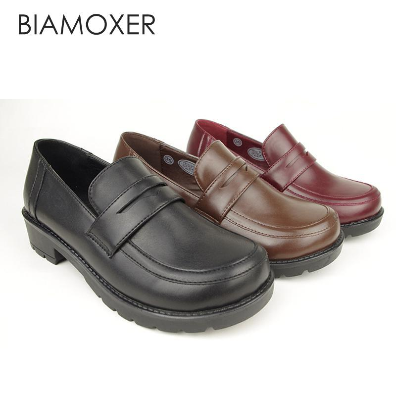 Biamoxer Japanese School Students Uniform <font><b>Shoes</b></font> Uwabaki JK Round Toe <font><b>Women</b></font> Girls <font><b>Lolita</b></font> Cosplay Low Heels image