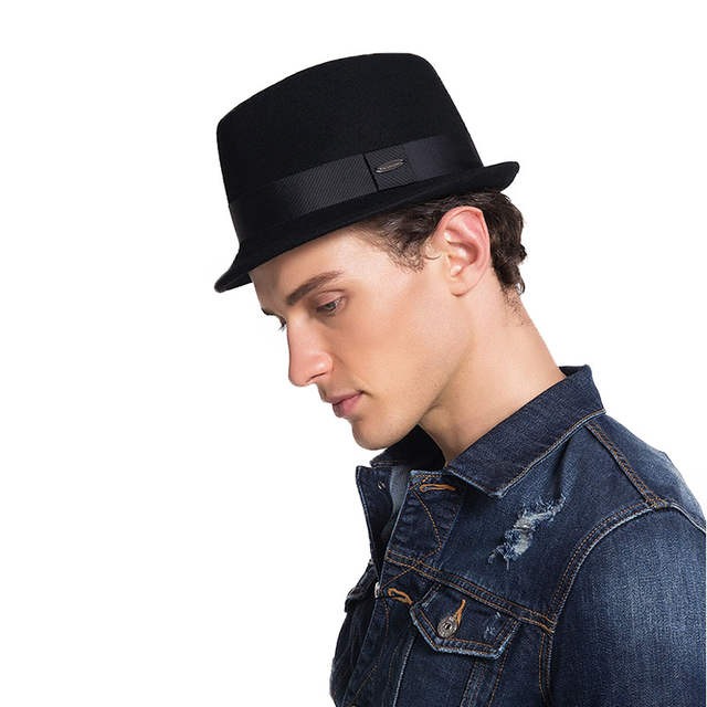 c06b008025d placeholder FS Winter Mens Fedora Hats Quality Australia Wool Felt Hats  Short Brim Cappello Vintage Retro British