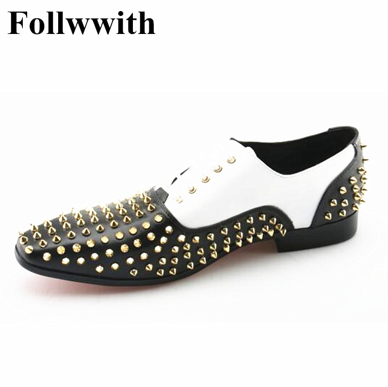 2018 Luxury Brand Design Gold Rivets Studs Patchwork Lace Up Men Casual Shoes Fashion Flats Dress Shoes Mens Plus Size 46 pjcmg high top italian luxury brand casual mens dress shoes genuine leather design flats for men party size 6 10