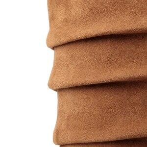 Image 5 - BONJOMARISA grande taille 34 43 qualité chaude automne hiver chaussures femmes mi mollet chaussure compensée femme Slip On plissé bottes déquitation