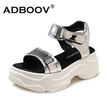 Nuevas Sandalias de plataforma ADBOOV, Sandalias gruesas de verano de suela gruesa para Mujer, Sandalias planas de 2 piezas, Sandalias de Mujer 2019