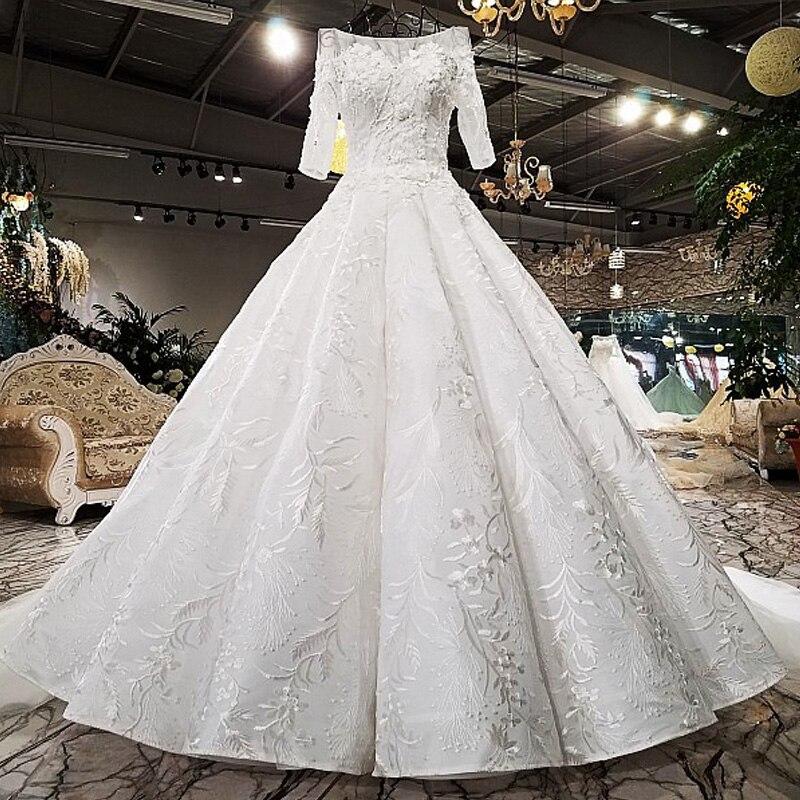 Luxury Wedding Dress White Lace Beaded Custom 2018 New