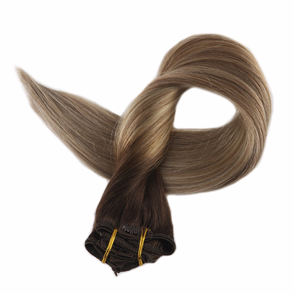 Full Shine 100% Real Hair Clip In Remy Extensions Brown Roots Dip Dyed Color #3 Fading To 8 And 22 7Pcs 100g Head