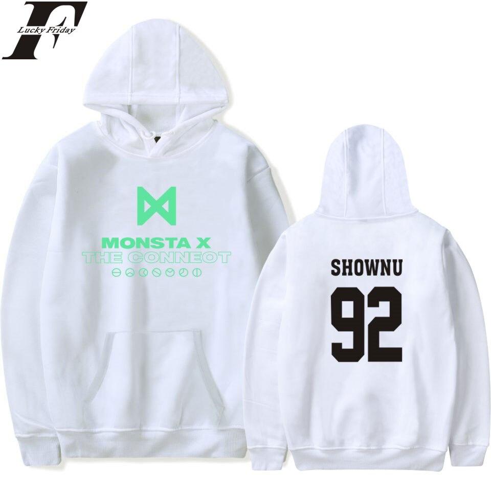 LUCKYFRIDAYF 2018 MONSTA X Kpop Print Spring Women Hoodies Long Sleeve Sweatshirts Hoodies Hip Hop Women Sweatshirt Plus Size