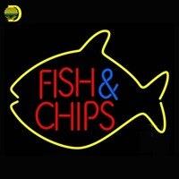 דגים וצ 'יפס בתוך דגי שלט ניאון הנורה ניאון סימן ארקייד תצוגה בחנות Affiche צינור צינור ניאון זכוכית זכוכית בעבודת יד 17x14 vd