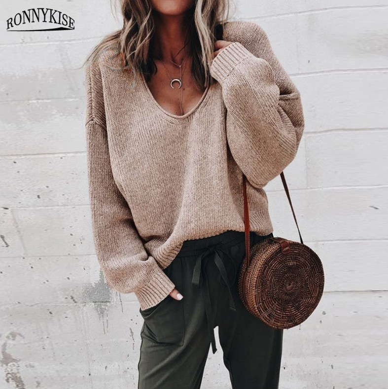 RONNYKISE Sexy V-neck Knitted Sweaters Women Fashion Long Sleeve Casual Tops Autumn Winter