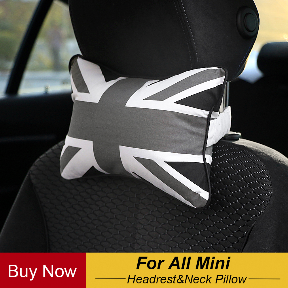 Neck Pillow Union Jack Checkered Care Occipital Headrest For All Mini Cooper Countryman R50 R53 R55 R56 R60 R61 F54 F55 F56