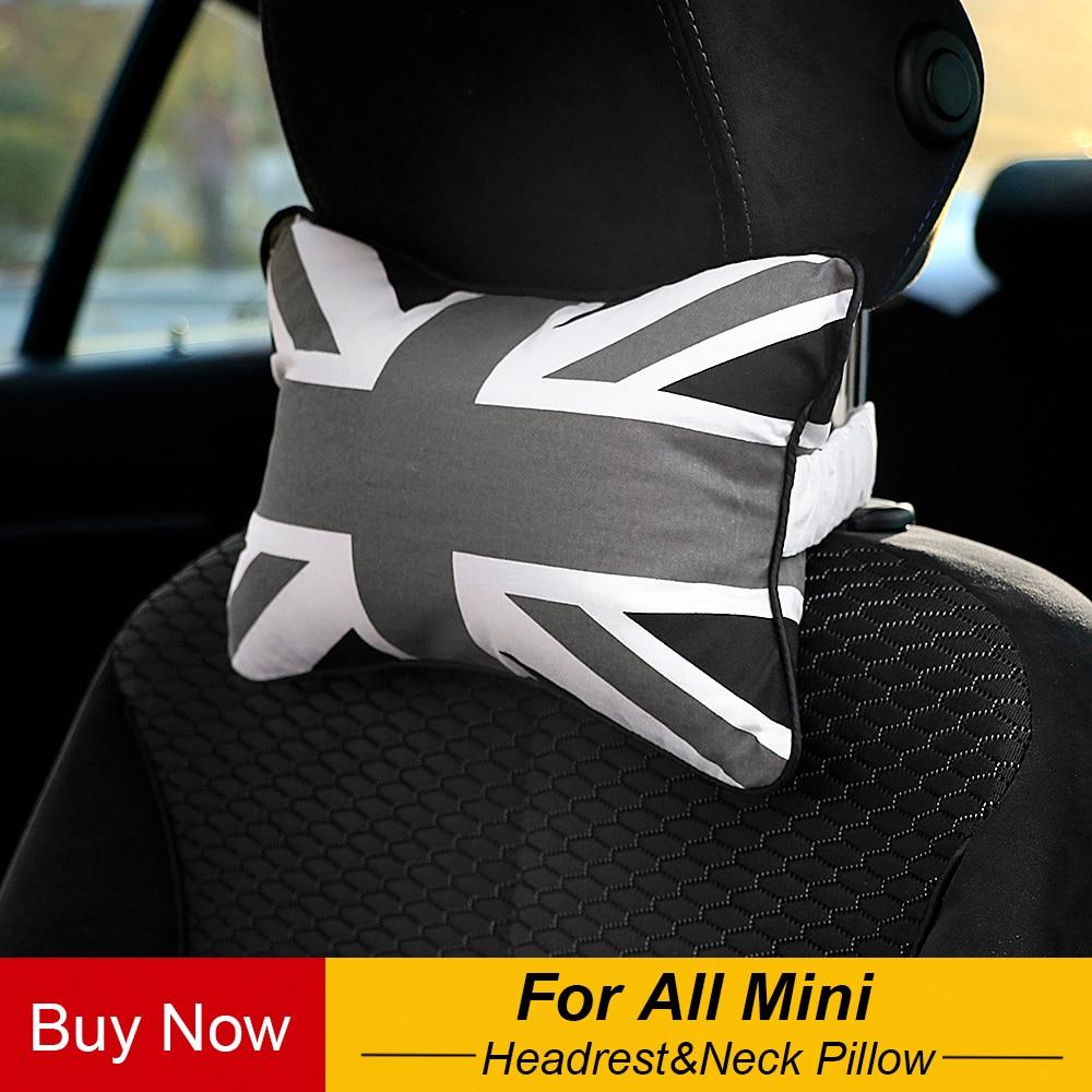 Neck Pillow Union Jack Checkered font b Care b font Occipital Headrest For All Mini Cooper