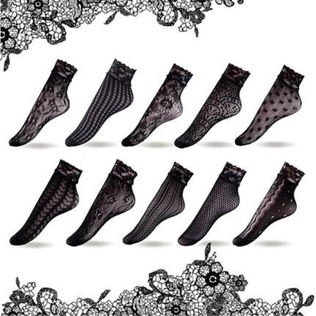 Hot 10 pairs summer negro atractivo de las mujeres ahueca hacia fuera corto calcetín señora de Seda Ultra Delgada Chica Corto Tobillo Low Cut Calcetines C58