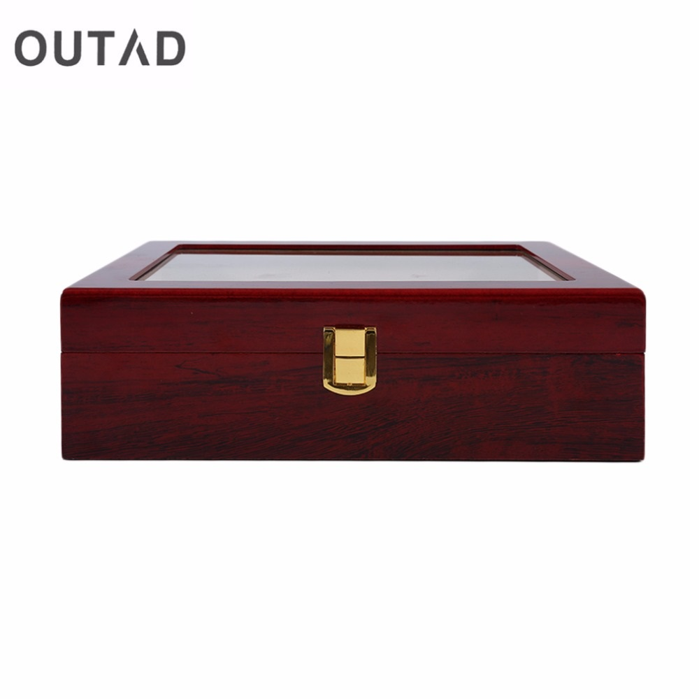OUTAD 10 Grids luxury Antique Style Red Wooden Holder watch box case Cotton Lining Storage Organizer Jewelry Display Case saat dark wine red wooden watch display box automatic switch and lock watches case jewelry storage holder organizer free shipping