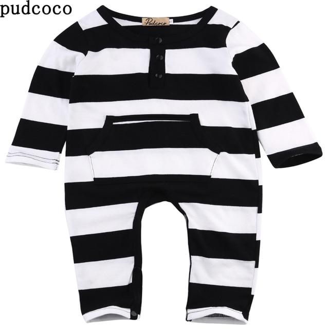 Baby Jungen Strampler Kleidung Langarm Schwarz Weiß Gestreiften Baby