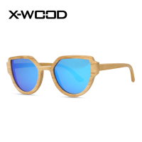 X-Wood Fashion Cat Eye Wooden Frame Designer Mirror Sunglasses Men Women Goggles Polarized Sunglass Sun Glasses Oculos De Sol