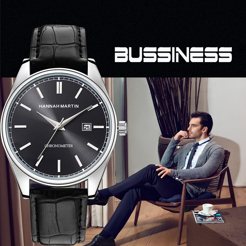 HM 2019 Business Watch For Man Quartz Waterproof Faux Leather Date Top Brand Sport Wristwatch Luxury Dress Classical Dress Gift