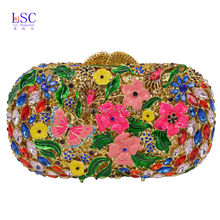 LaiSC Clutch Bag with butterfly Ladies Diamond Multicolor Evening Clutches Unique Prom Handbag Party Purse sc451-C