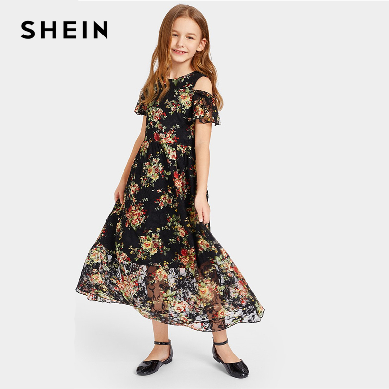 SHEIN Kiddie Cold Shoulder Floral Lace Overlay Girls Flared Maxi Dress 2019 Summer Vacation Sheer A Line Boho Beach Long Dresses floral print back cut out maxi dress