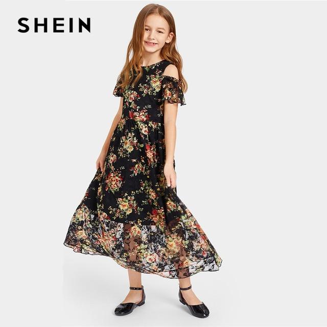 SHEIN Kiddie/цветочное кружево накладка на холодное плечо, расклешенное платье макси для девочек 2019 г., летние свободные Прозрачные Пляжные длинные платья в стиле бохо
