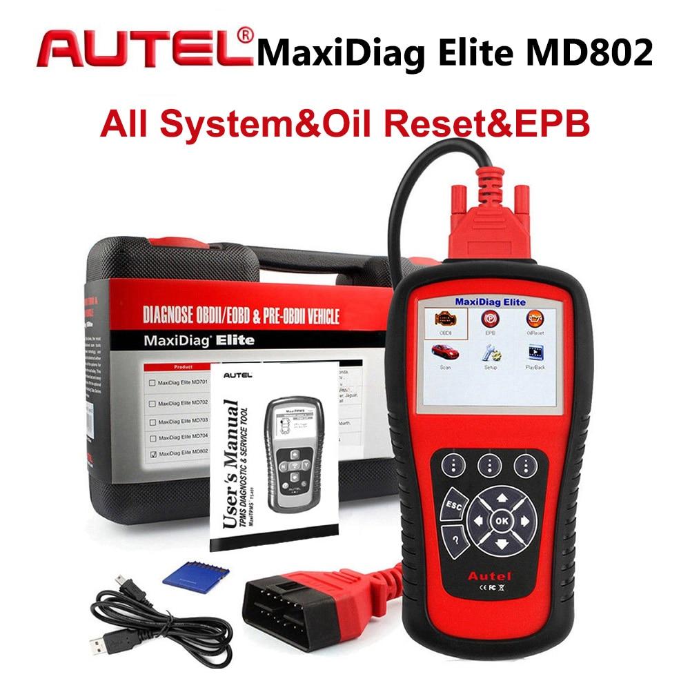 AUTEL MaxiDiag Elite MD802 Todo o Sistema OBD2 Detector Leitor de Código de OBDII Scanner Ferramenta de Diagnóstico Do Carro para EPB Reinício Do Óleo PK MD805