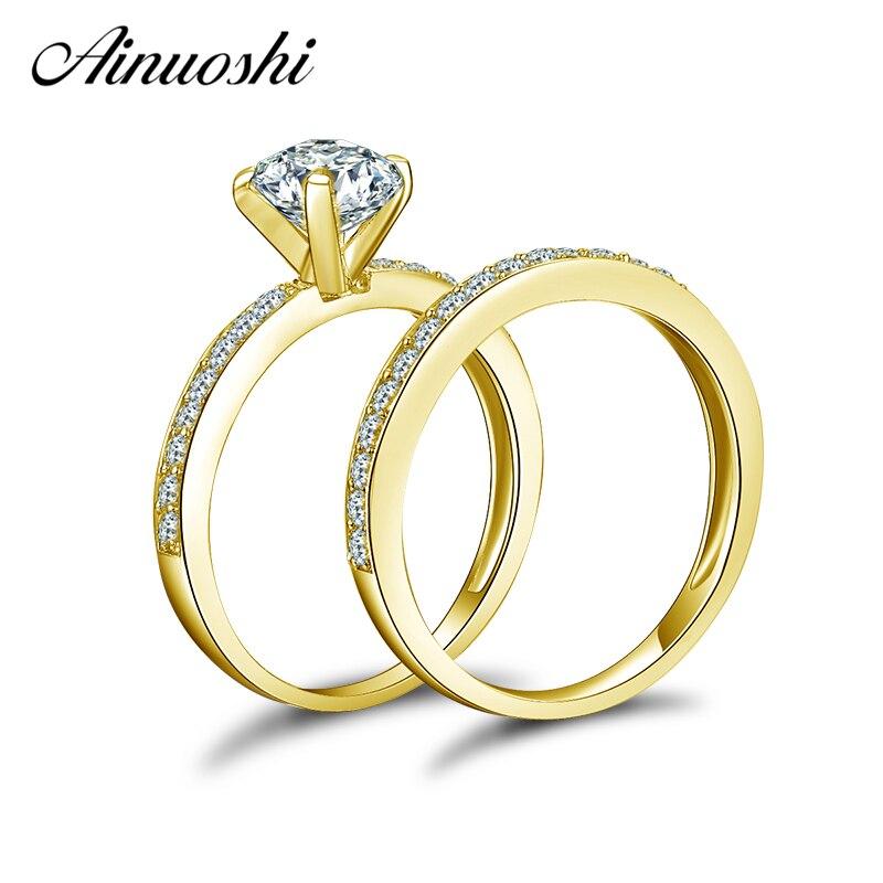 AINUOSHI 14 K Conjuntos Anel De Casamento Ouro Amarelo Sólido 1 ct Corte Redondo Sona Simulado Diamante Shinning Bague Mulheres Engagement conjuntos anel