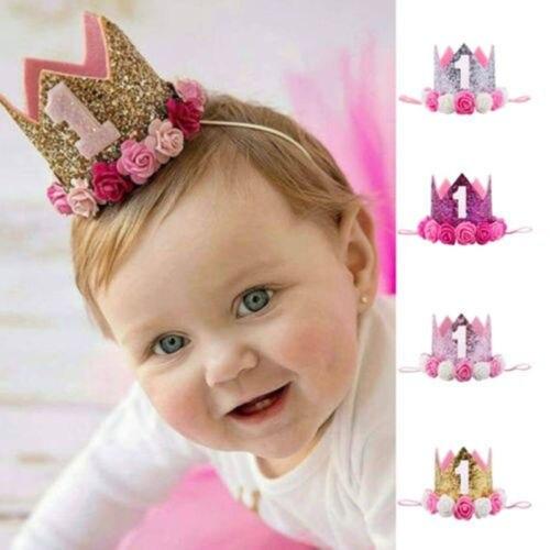 Mignon Bebes Enfants Bebe 1er Anniversaire Chapeau Glitter Couronne