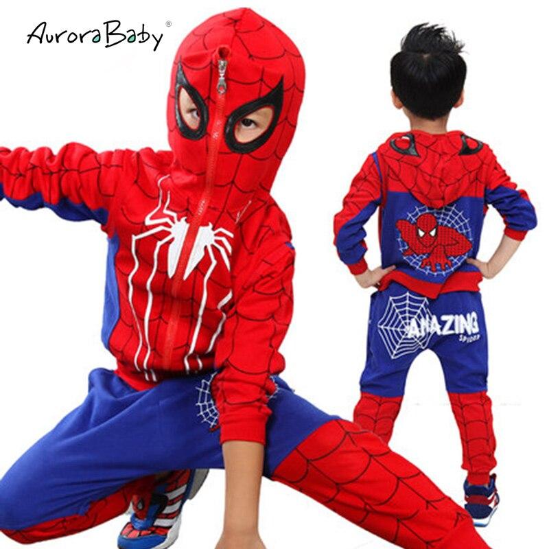 09d4515d49927 Spiderman dzieci chłopców ubrania 3 sztuk zestaw płaszcz + kamizelka +  spodnie odzież zestaw Baby Boy sport garnitury 2-6 lat dzieci odzież dresy