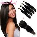 Não transformados brasileira virgem do cabelo 4 bundles com lace closure estilo do cabelo de seda em linha reta 100 cabelo humano marcas aliexrpess coupon