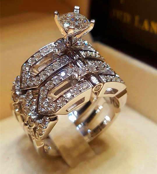 クリスタル女性ビッグ石リングセット自由奔放に生きるファッション女王シルバー色ブライダル婚約指輪女性のための約束愛の指輪