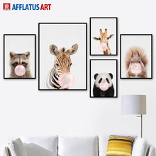 Pink Bubble Panda Giraffe Zebra Deer Wall Art Canvas Painting Nordic Posters And Prints Pictures For Living Room Decor