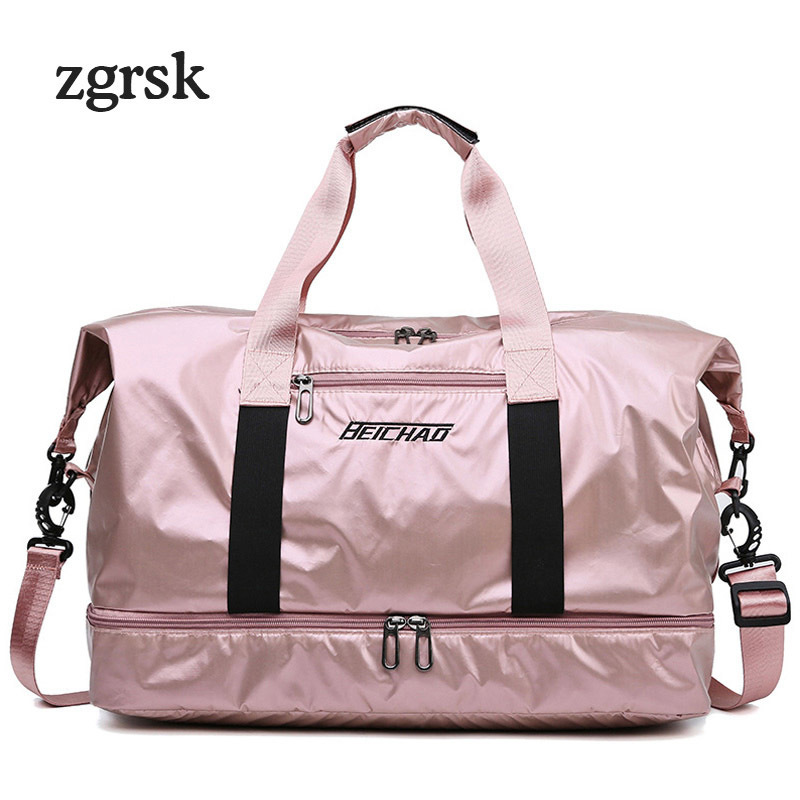 Fitness Weekend Travel Bags Dry Wet Handbags Women Luggage Folding Duffle Bag Waterproof With Shoes Pocket Traveling Nylon in Travel Bags from Luggage Bags