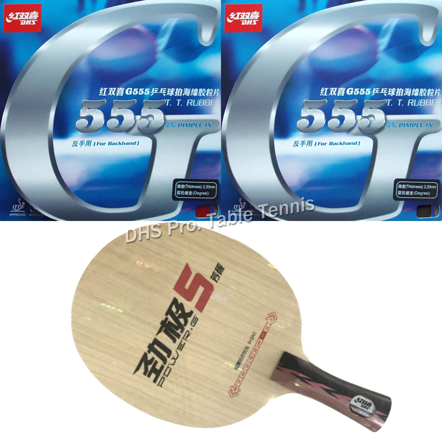Pro Combo Racket DHS Power G5 Blade With 2x DHS G555 Rubber With Sponge
