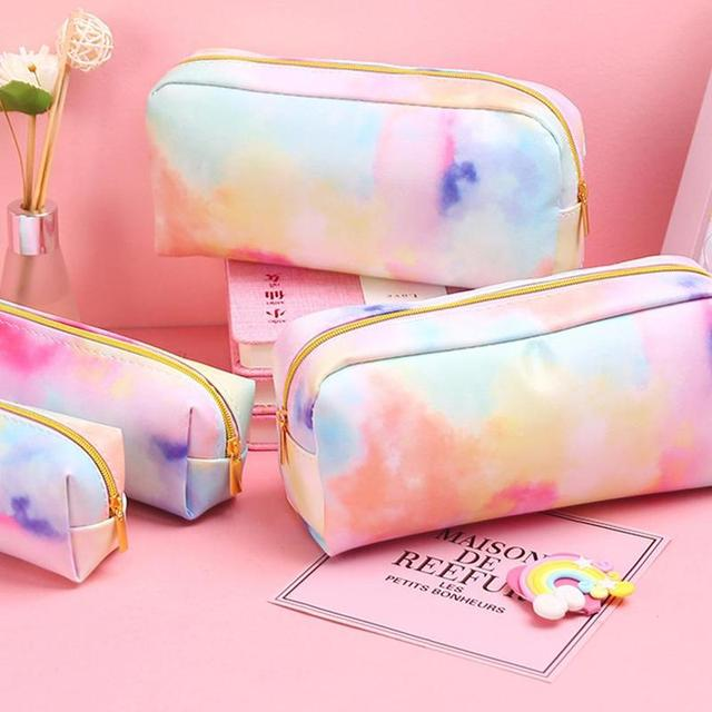 Girl Heart Dream Colorful Series Pencil Bag Stationery Bag Kawaii Colorful Pencil Case School Supplies Stationery Make Up Gift