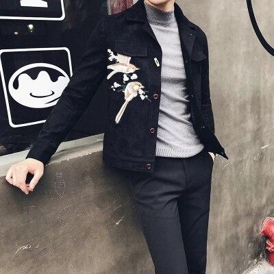 2017 marque homme Floral broderie cuir vestes PU classique Jaqueta Masculinas Inverno Couro veste hommes noir moto veste
