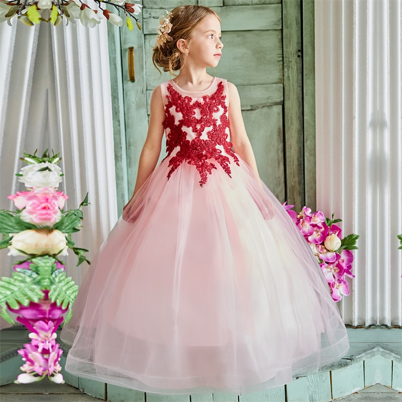 Kids   Dresses   For   Girl   Tulle Sleeveless Lace Appliques Bridesmaid   Flower     Girls     Dress   Elegant Princess Birthday Party Wedding Gown