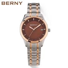 BERNY 2017 Women Watches Bracelet Watch Ladies Rose Gold Luxury Business Stainless Steel Waterproof Women's Wrist Watches 2659L