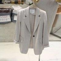 Casual Retro Thin Blazer Feminino Ladies Blazer Suit Jacket Female New Spring Long Sleeve Linen Suit Blazer Women Blaser Mujer