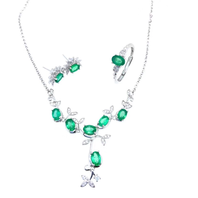green emerald gemstone ring earring and necklace jewelry set for womengreen emerald gemstone ring earring and necklace jewelry set for women