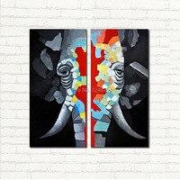 Современный ручной слон стены искусства картины маслом большой абстрактной внутренних дел лобби отделка стен