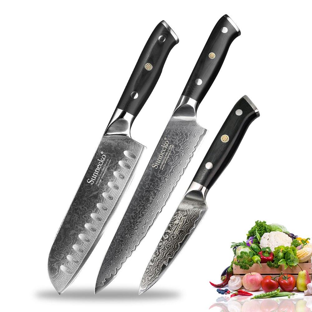 SUNNECKO 3 قطعة المطبخ طقم السكاكين Santoku الشيف سكين التقشير اليابانية VG10 دمشق الصلب الحلاقة شارب الطبخ السكاكين G10 مقبض-في أطقم سكاكين من المنزل والحديقة على  مجموعة 1