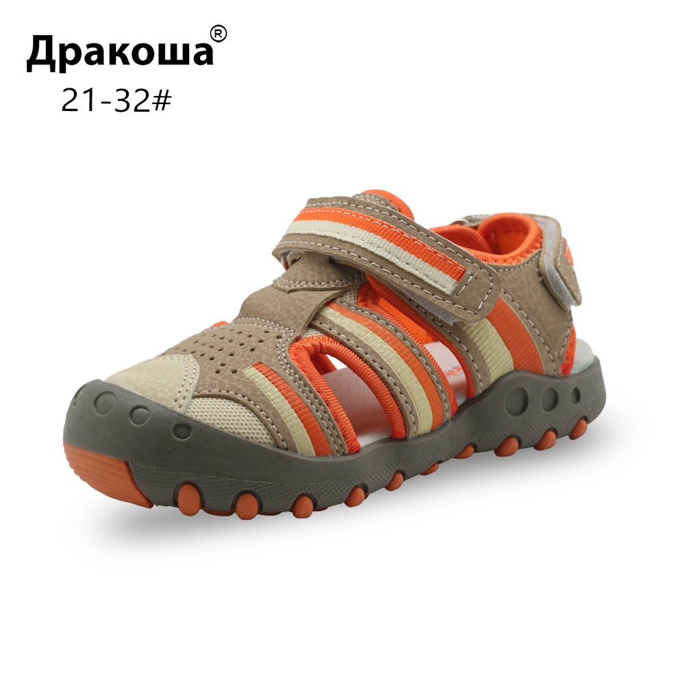 Apakowa Spring Summer Boys Sandals Toddler Baby Boy Closed Toe Beach Sandals Children Outdoor Sports Sandals For Boys Kids Shoes