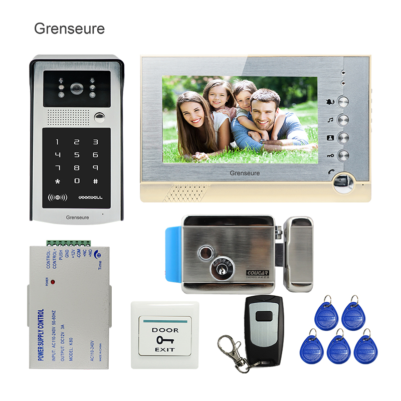 FREE SHIPPING New 7 LCD Screen Record Video Door Phone Intercom System + Outdoor RFID Access Keypad Password Camera + E-lock free shipping new 7 tft lcd screen record video door phone intercom system outdoor rfid access keypad password camera 8g sd